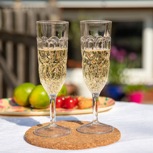 Acrylic Champagne Glass with Embossed Detail - Clear