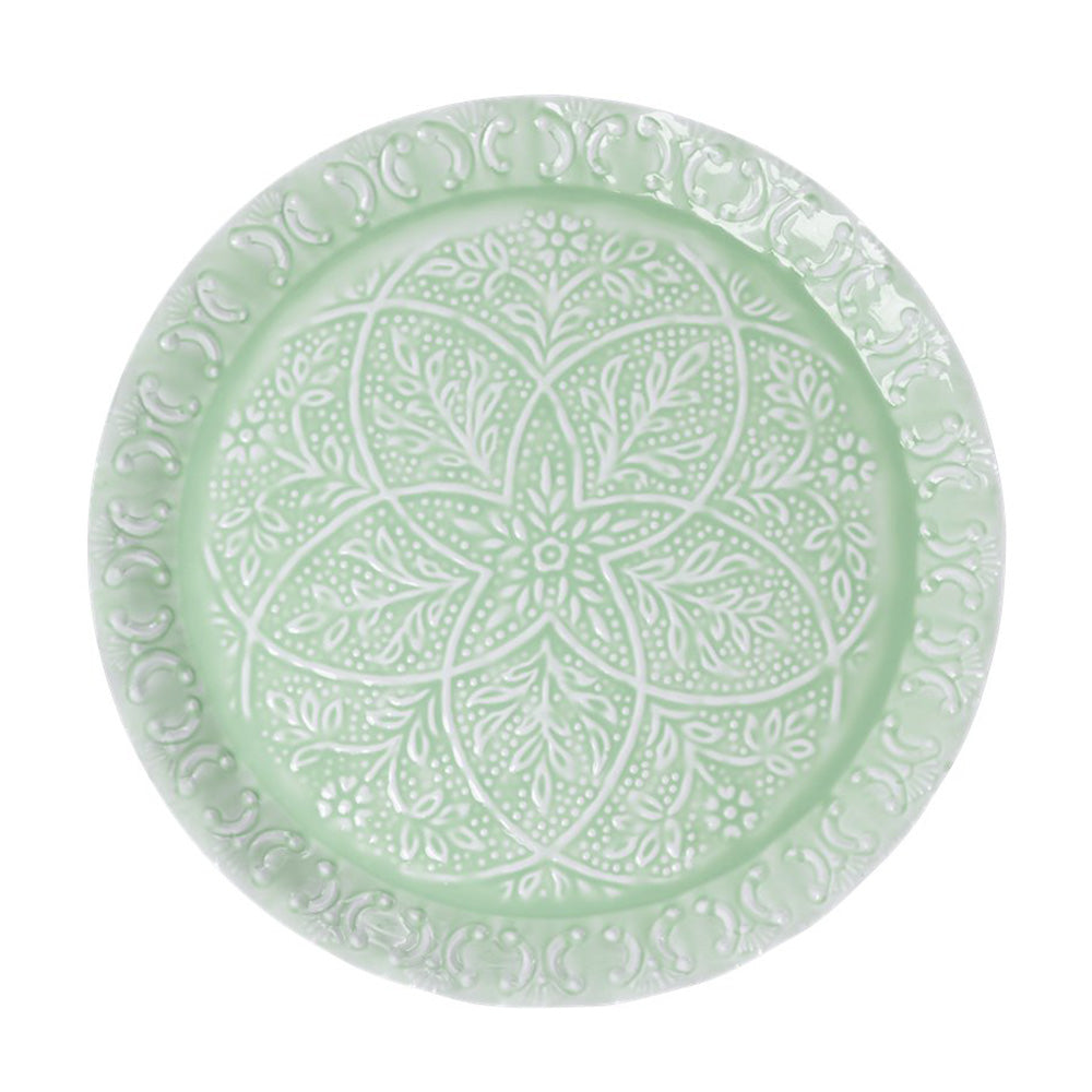 Metal Round Scalloped Edge Tray - Sage Green