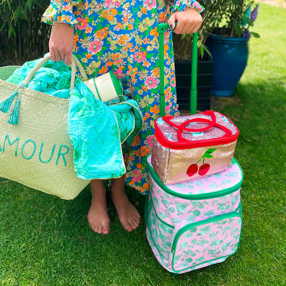 Trolley Cooler Bag with Pink Green Rose Print (22L)