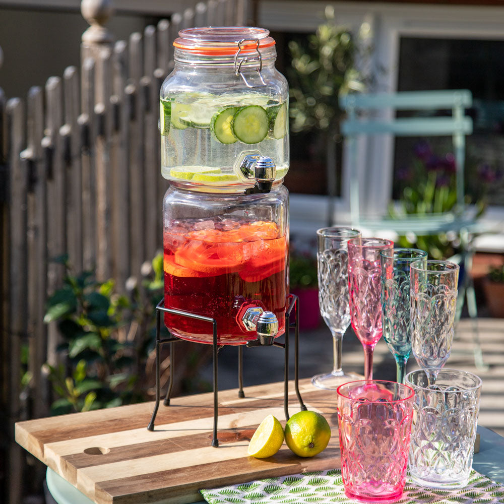Kilner Stackable Jar Set with Dispensing Taps and Stand (2.1L + 3.1L)