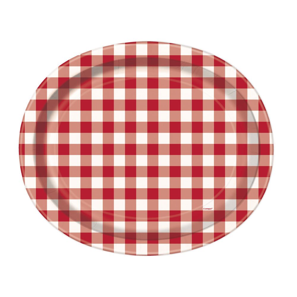 Red Gingham Oval Paper Platter (x8)