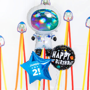 Personalised Inflated Balloon Bouquet in a Box - Birthday Space Explorer