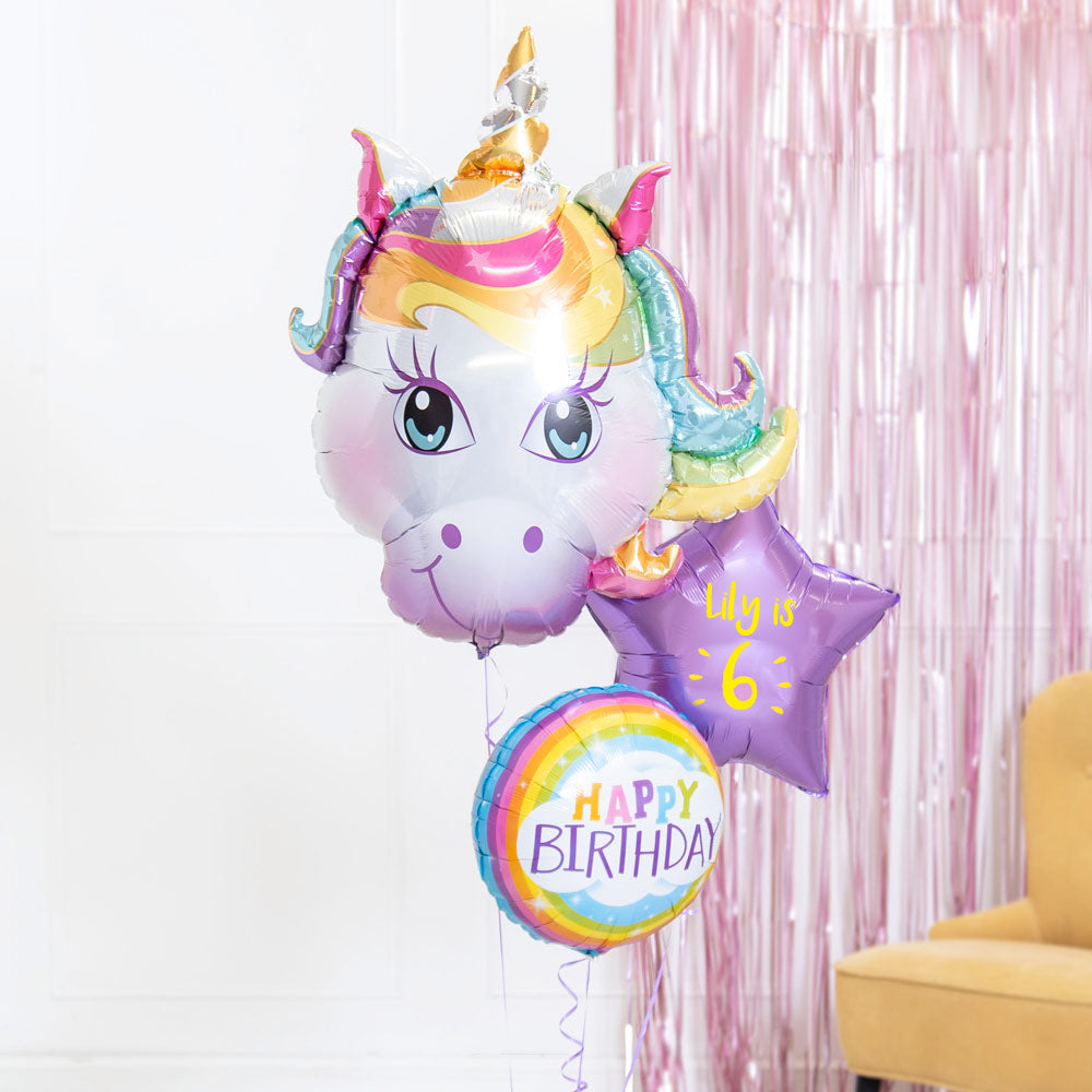 Personalised Inflated Balloon Bouquet in a Box - Birthday Unicorn