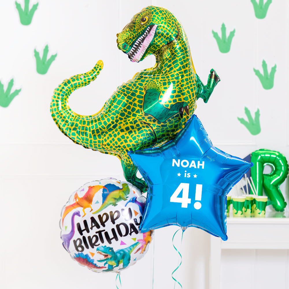 Personalised Inflated Balloon Bouquet in a Box - Dino Birthday