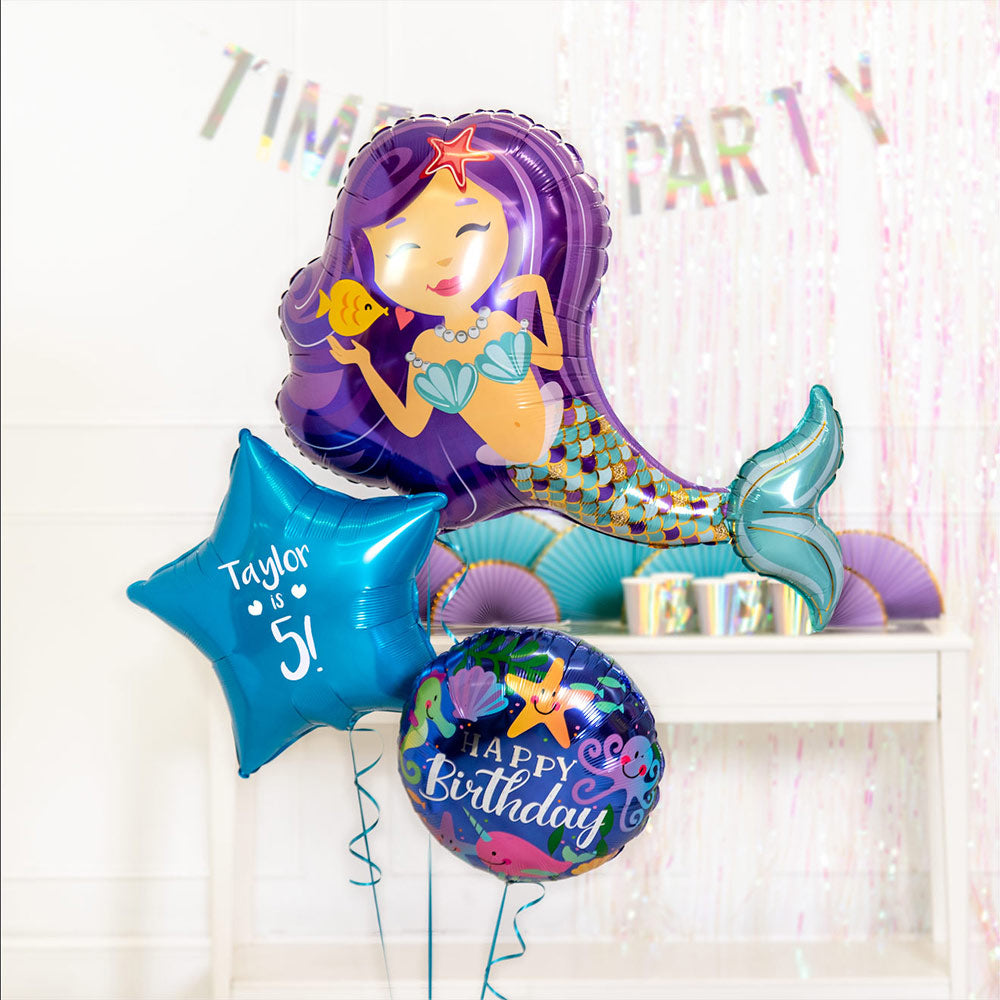 Personalised Inflated Balloon Bouquet in a Box - Mermazing Birthday