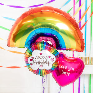 Personalised Inflated Balloon Bouquet in a Box - Retro Rainbow Birthday Wishes