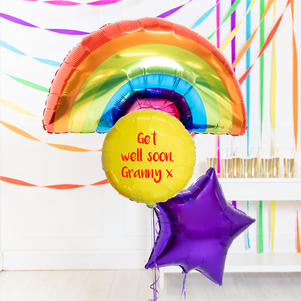 Personalised Inflated Balloon Bouquet in a Box - Super Bright Rainbow Birthday