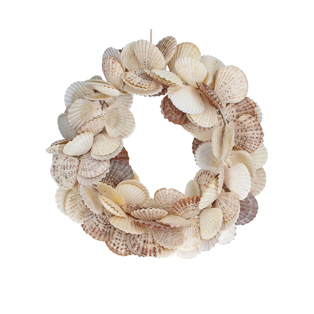 Natural Scallop Shell Round Wreath
