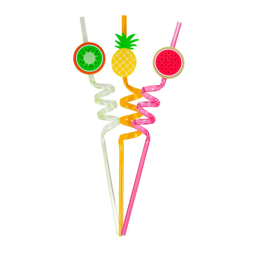 Reusable Fruit Curly Straws (x3)