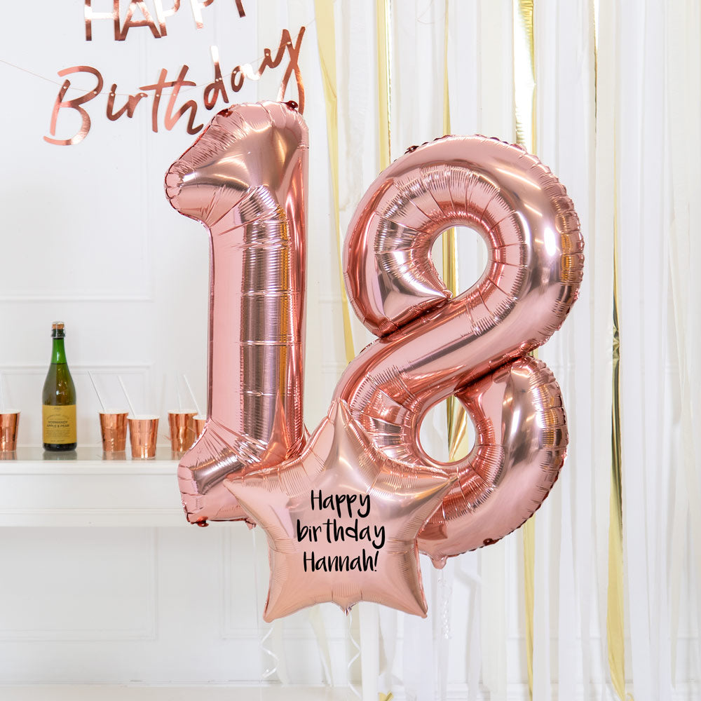 Personalised Inflated Balloon Bouquet - 18th Birthday Rose Gold