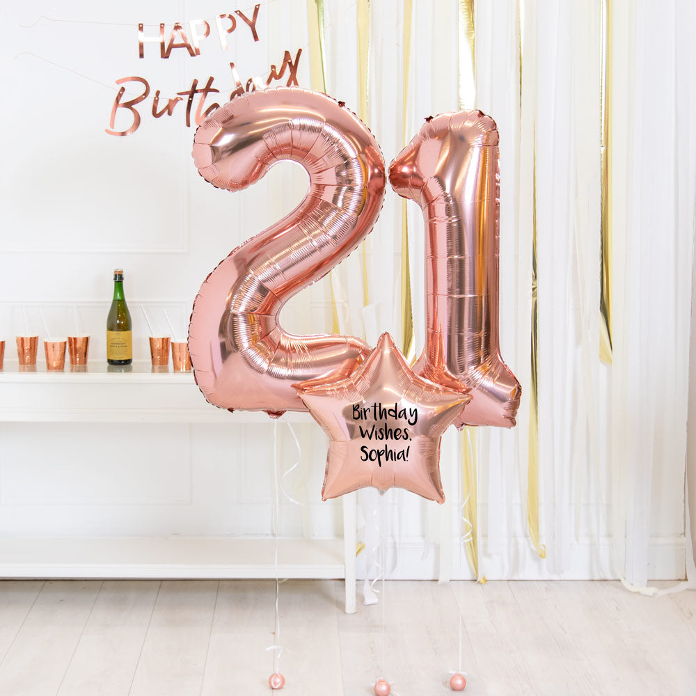 Personalised Inflated Balloon Bouquet - 21st Birthday Rose Gold