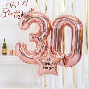 Personalised Inflated Balloon Bouquet - 30th Birthday Rose Gold