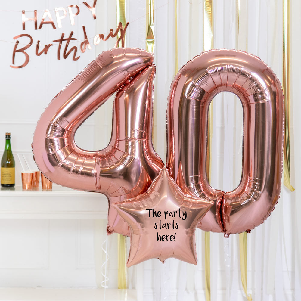 Personalised Inflated Balloon Bouquet - 40th Birthday Rose Gold