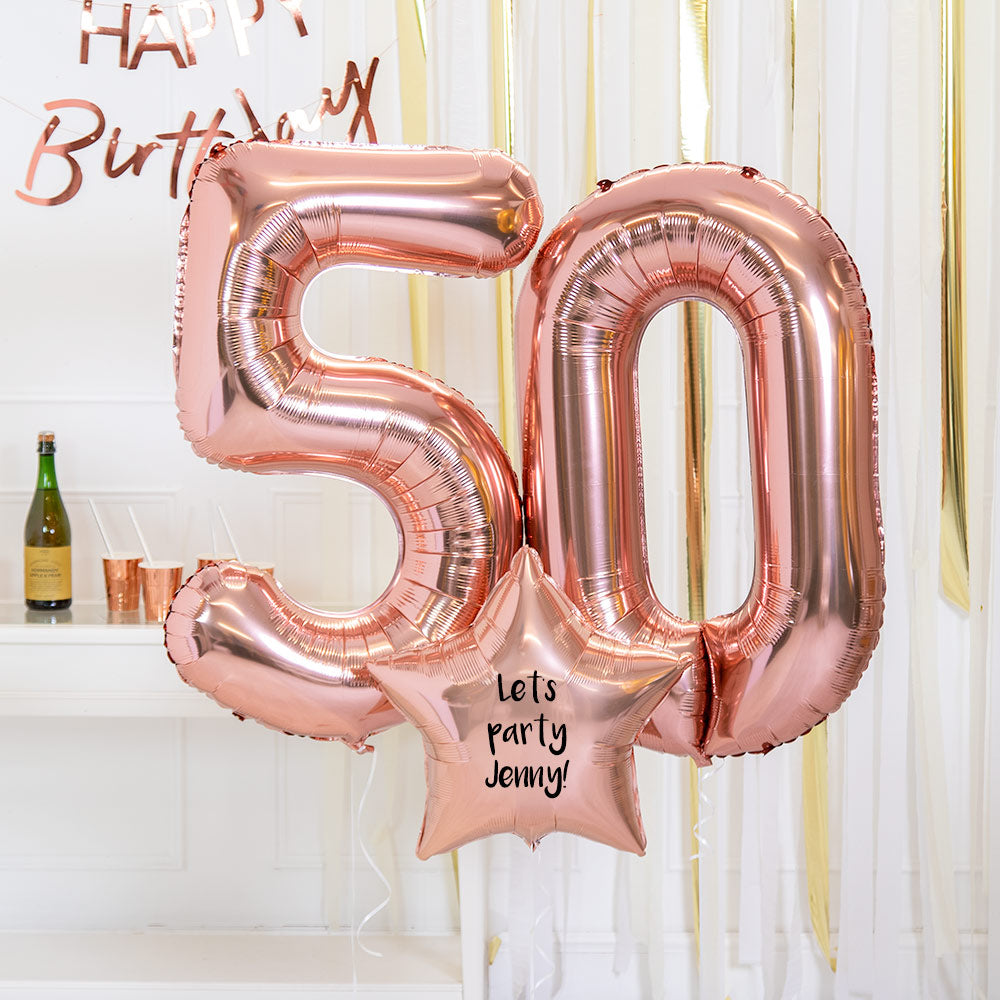 Personalised Inflated Balloon Bouquet - 50th Birthday Rose Gold
