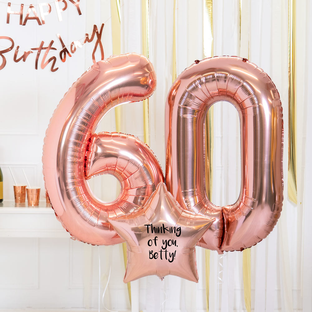 Personalised Inflated Balloon Bouquet - 60th Birthday Rose Gold