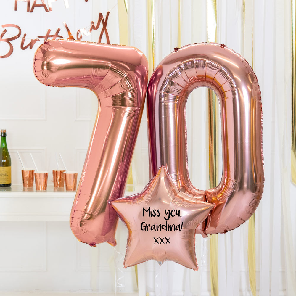 Personalised Inflated Balloon Bouquet - 70th Birthday Rose Gold