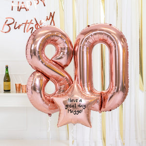 Personalised Inflated Balloon Bouquet - 80th Birthday Rose Gold