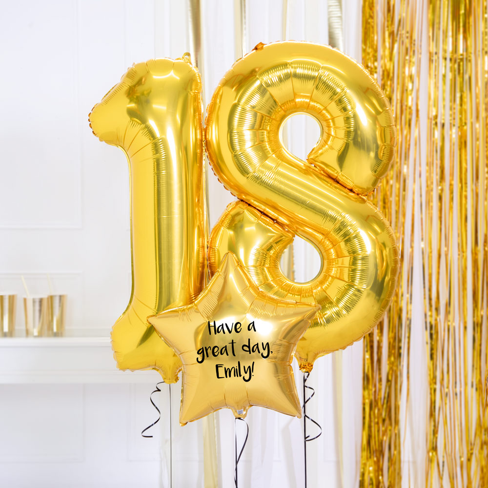 Personalised Inflated Balloon Bouquet - 18th Birthday Gold