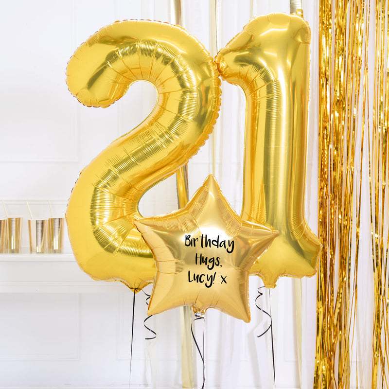 Personalised Inflated Balloon Bouquet - 21st Birthday Gold