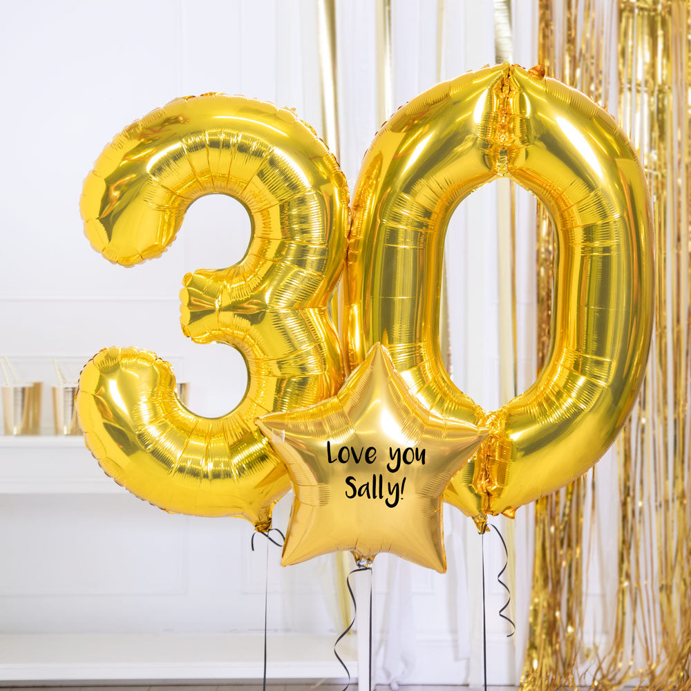 Personalised Inflated Balloon Bouquet - 30th Birthday Gold