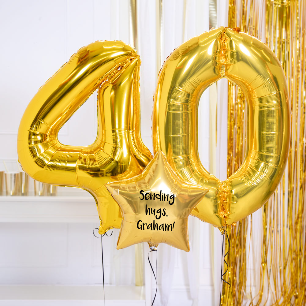 Personalised Inflated Balloon Bouquet - 40th Birthday Gold