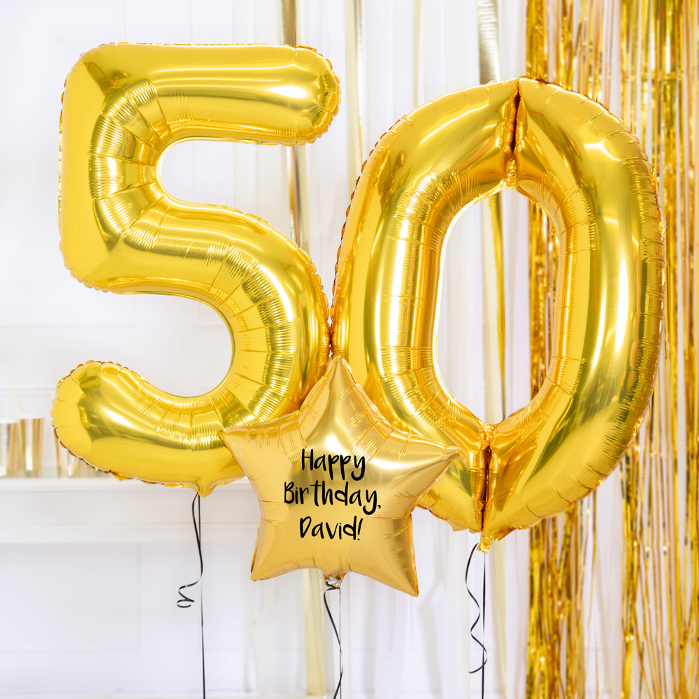 Personalised Inflated Balloon Bouquet - 50th Birthday Gold