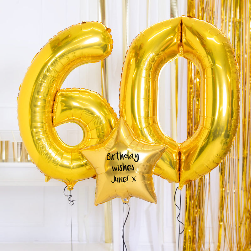 Personalised Inflated Balloon Bouquet - 60th Birthday Gold