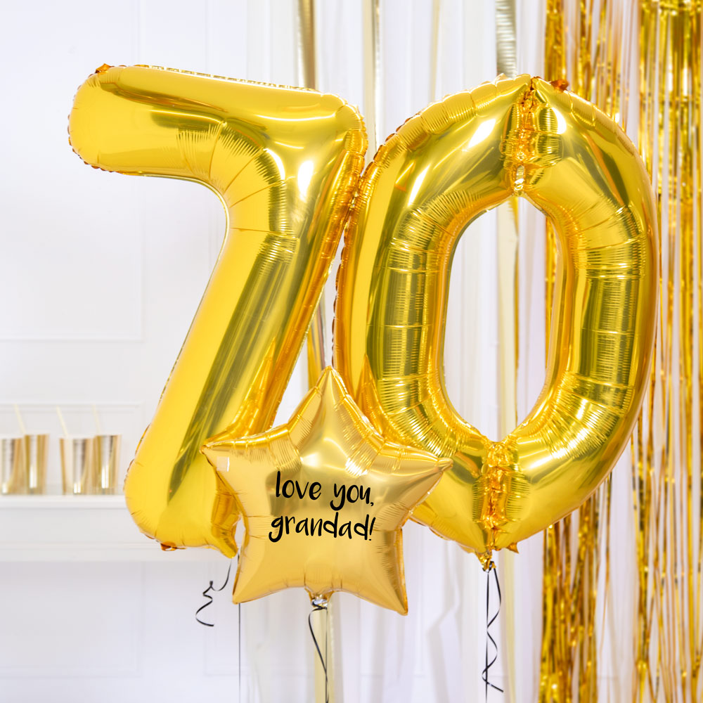 Personalised Inflated Balloon Bouquet - 70th Birthday Gold