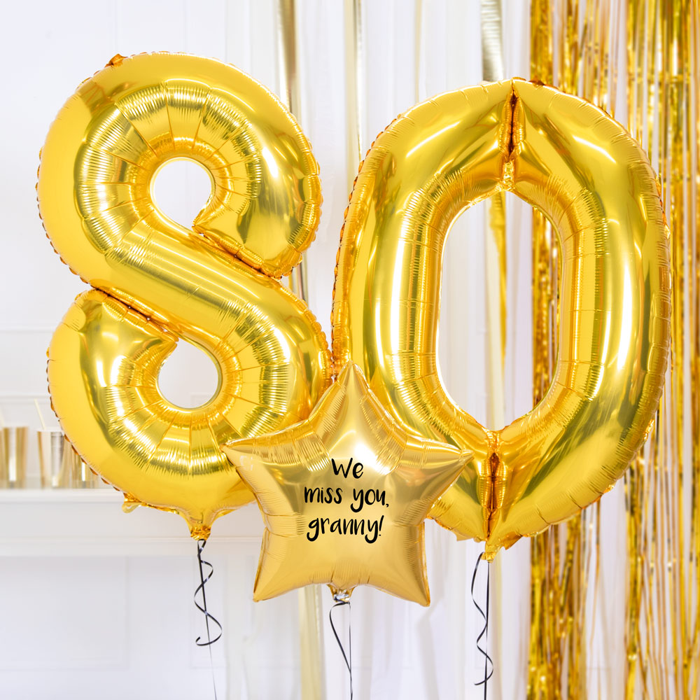 Personalised Inflated Balloon Bouquet - 80th Birthday Gold