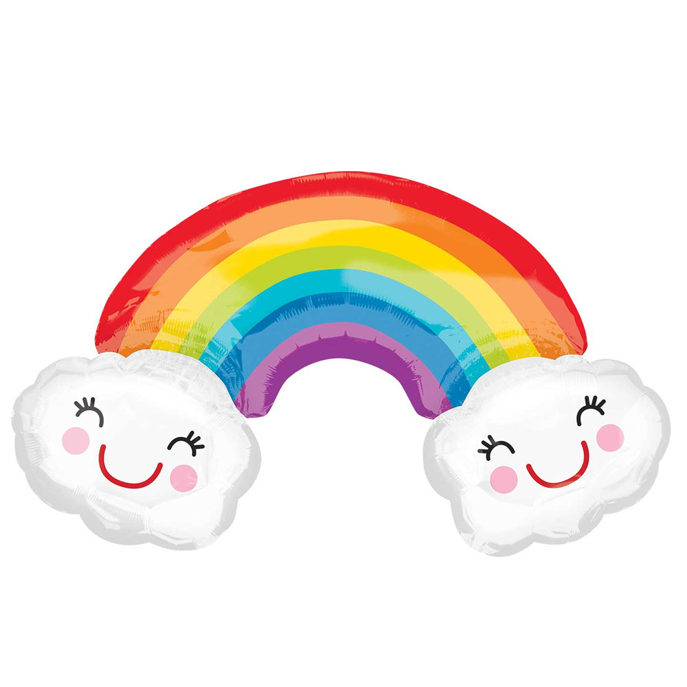 Rainbow with Clouds Supershape Foil Balloon