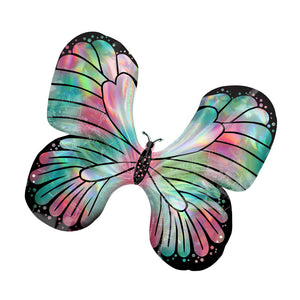 Iridescent Teal and Pink Butterfly Supershape Foil Balloon