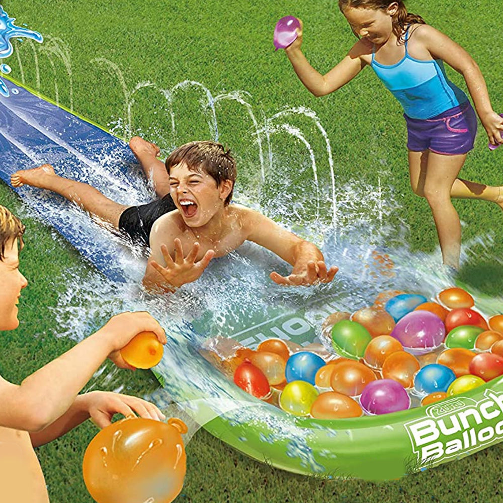 Water Slide Wipeout with Rapid Fill Water Balloon Bunches (16ft)