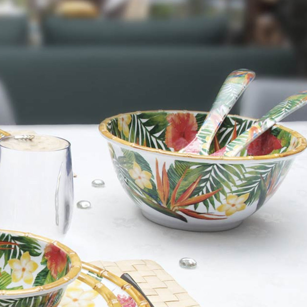 Melamine Deep Salad Bowl - Tropical Print