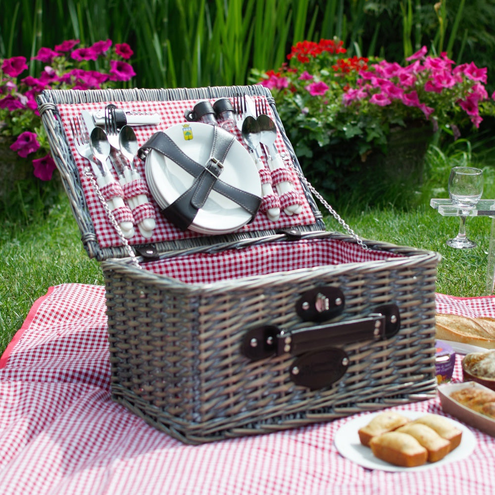 Wicker Picnic Basket Set for 4 People (Includes Plates, Cutlery & Glasses)
