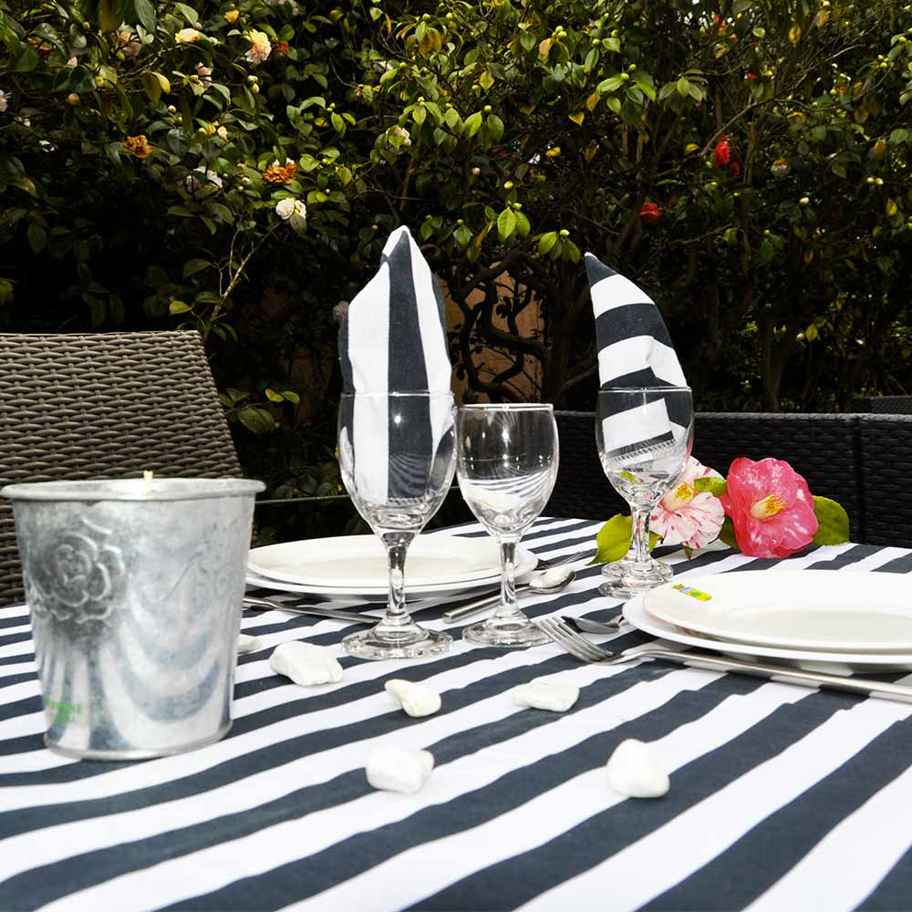 Marine Stripe Cotton Picnic Mat with Waterproof Back (1.4m x 1.4m)