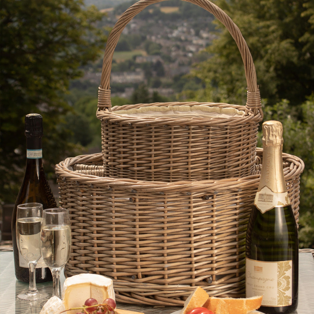 Garden Party Chiller Basket with 12 Champagne Glasses