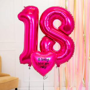 Personalised Inflated Balloon Bouquet - 18th Birthday Pink