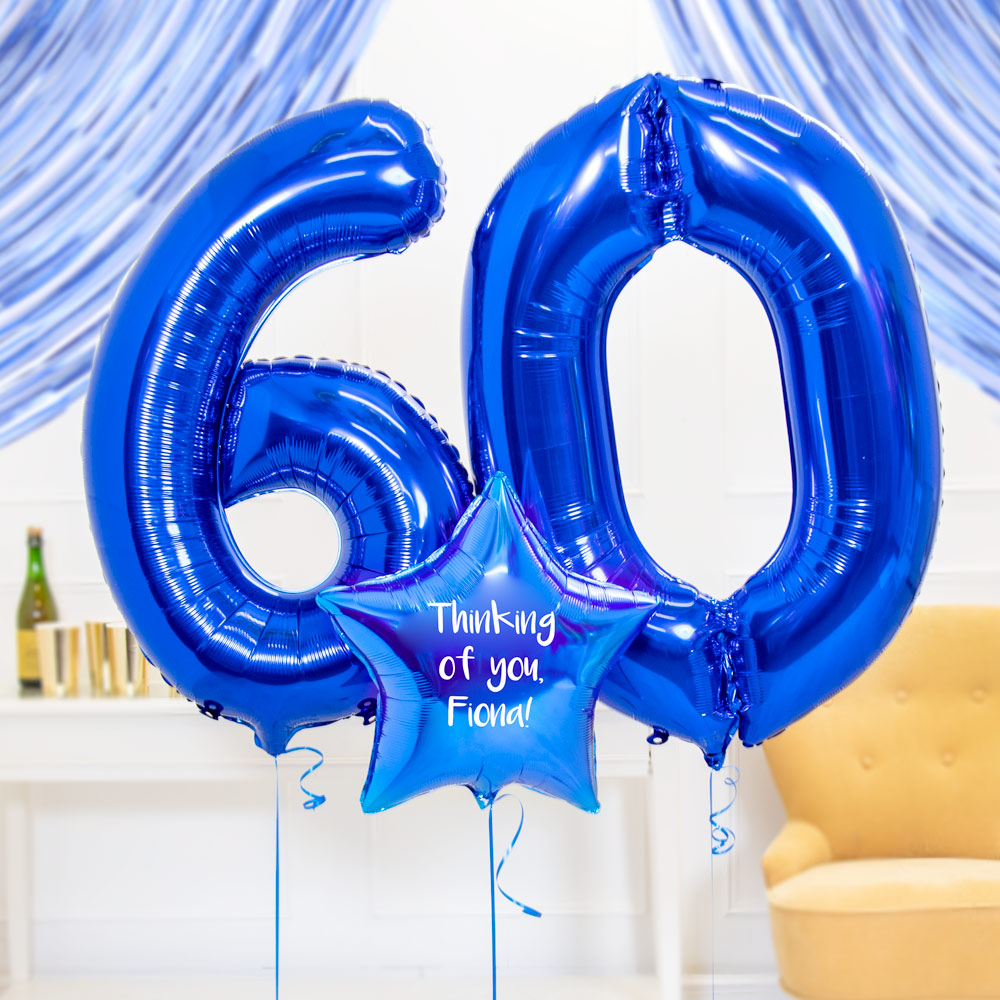 60th Birthday Balloons - Personalised Inflated Balloon Bouquet Blue