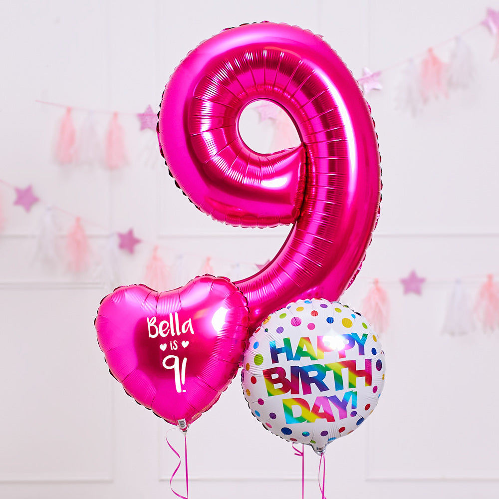 9th Birthday Inflated Balloon Bunch – Pink