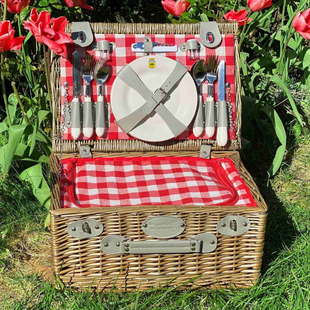 Marly Red & White Gingham - Picnic Wicker Basket Set (4 Person)