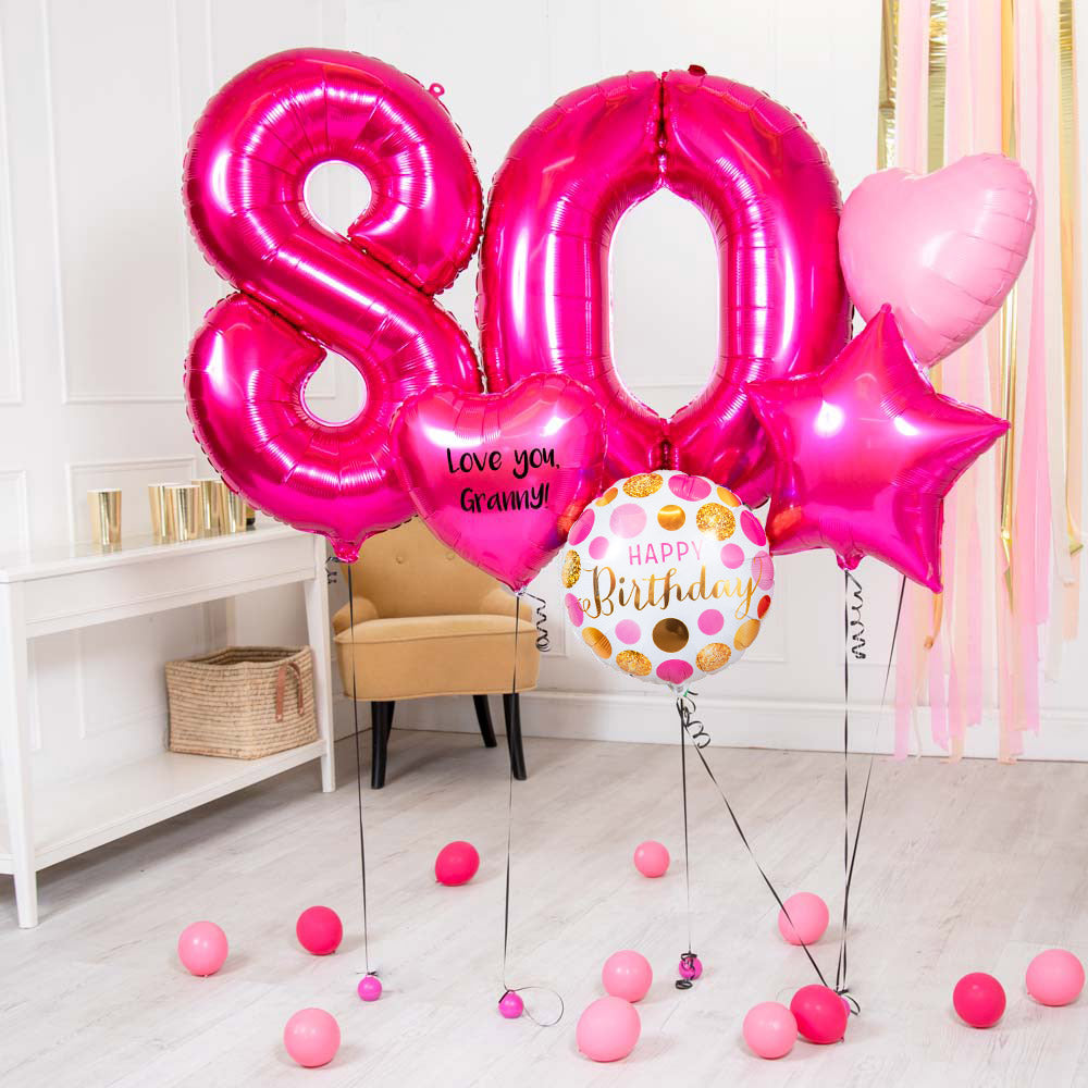 Deluxe Personalised Balloon Bunch - 80th Birthday Pink