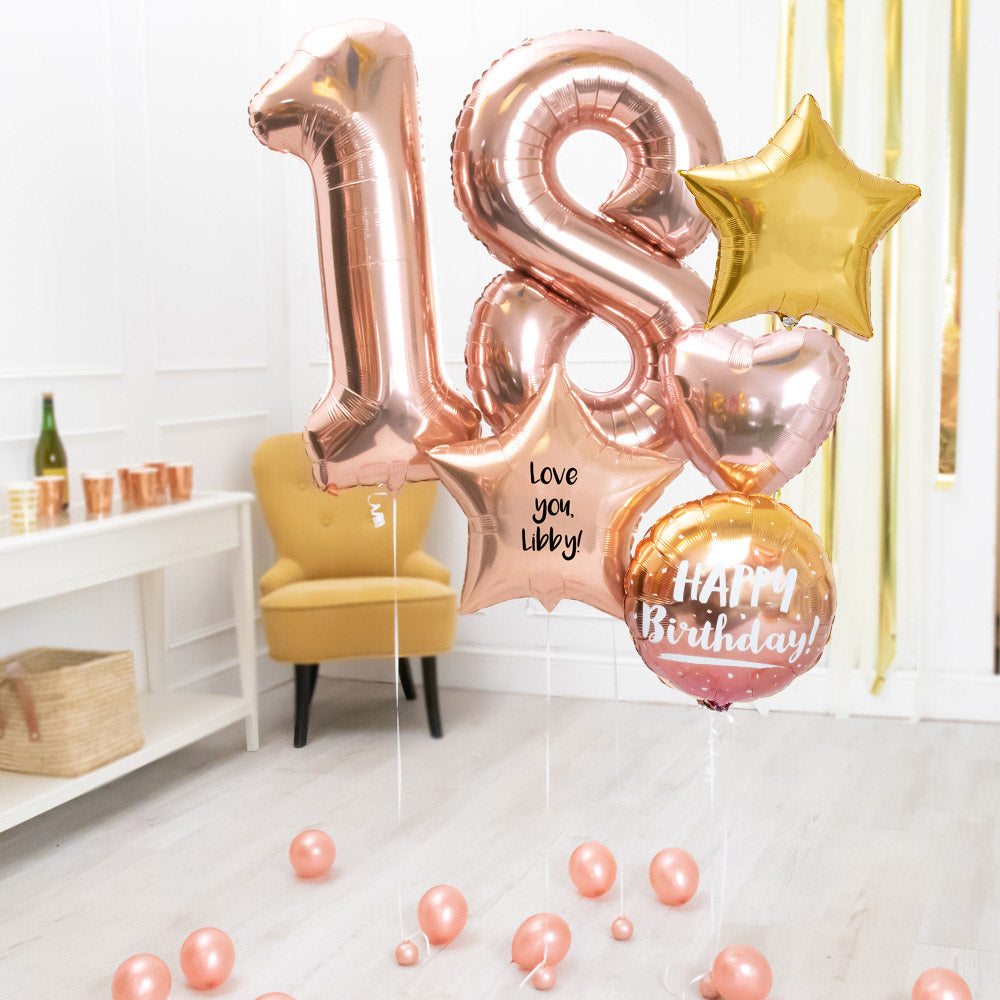 Deluxe Personalised Balloon Bunch - 18th Birthday Rose Gold