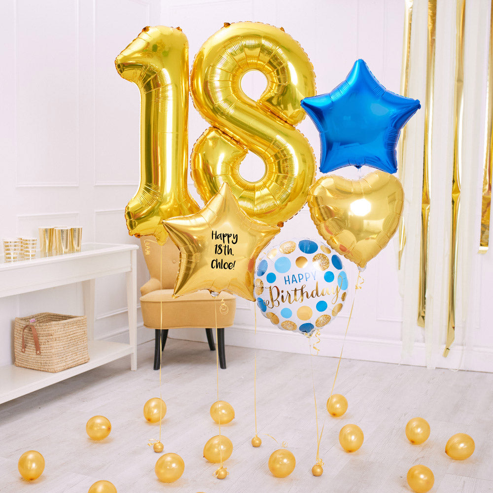 Deluxe Personalised Balloon Bunch - 18th Birthday Gold & Blue