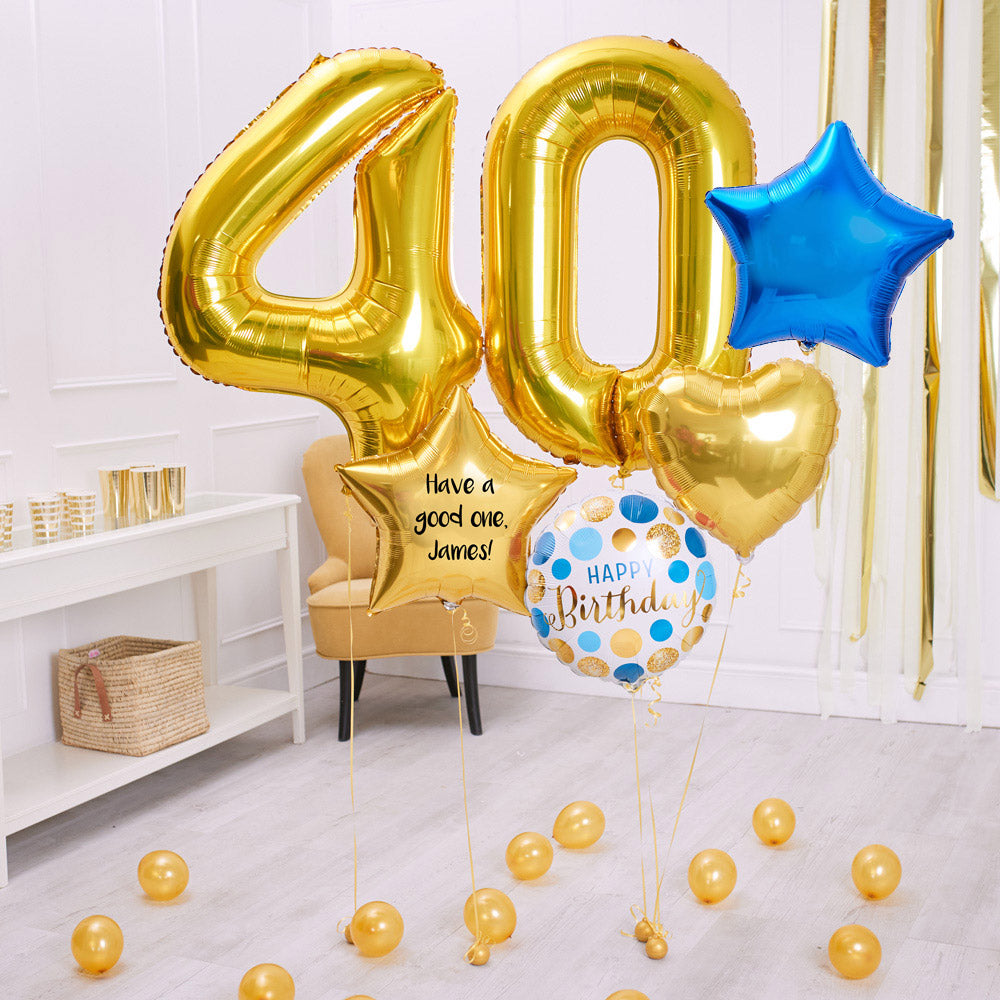 Deluxe Personalised Balloon Bunch - 40th Birthday Gold & Blue