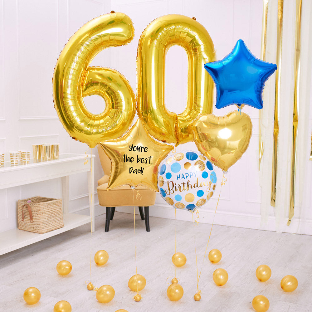 Deluxe Personalised Balloon Bunch - 60th Birthday Gold & Blue