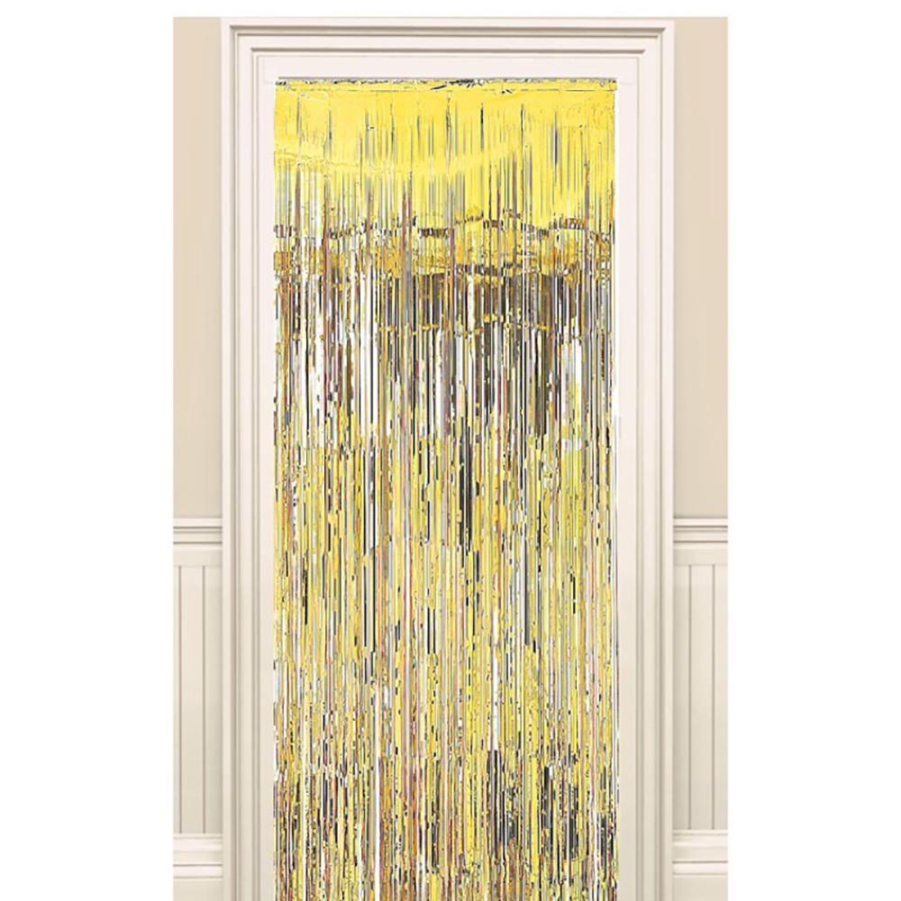 A metallic gold foil door curtain hung above a door frame