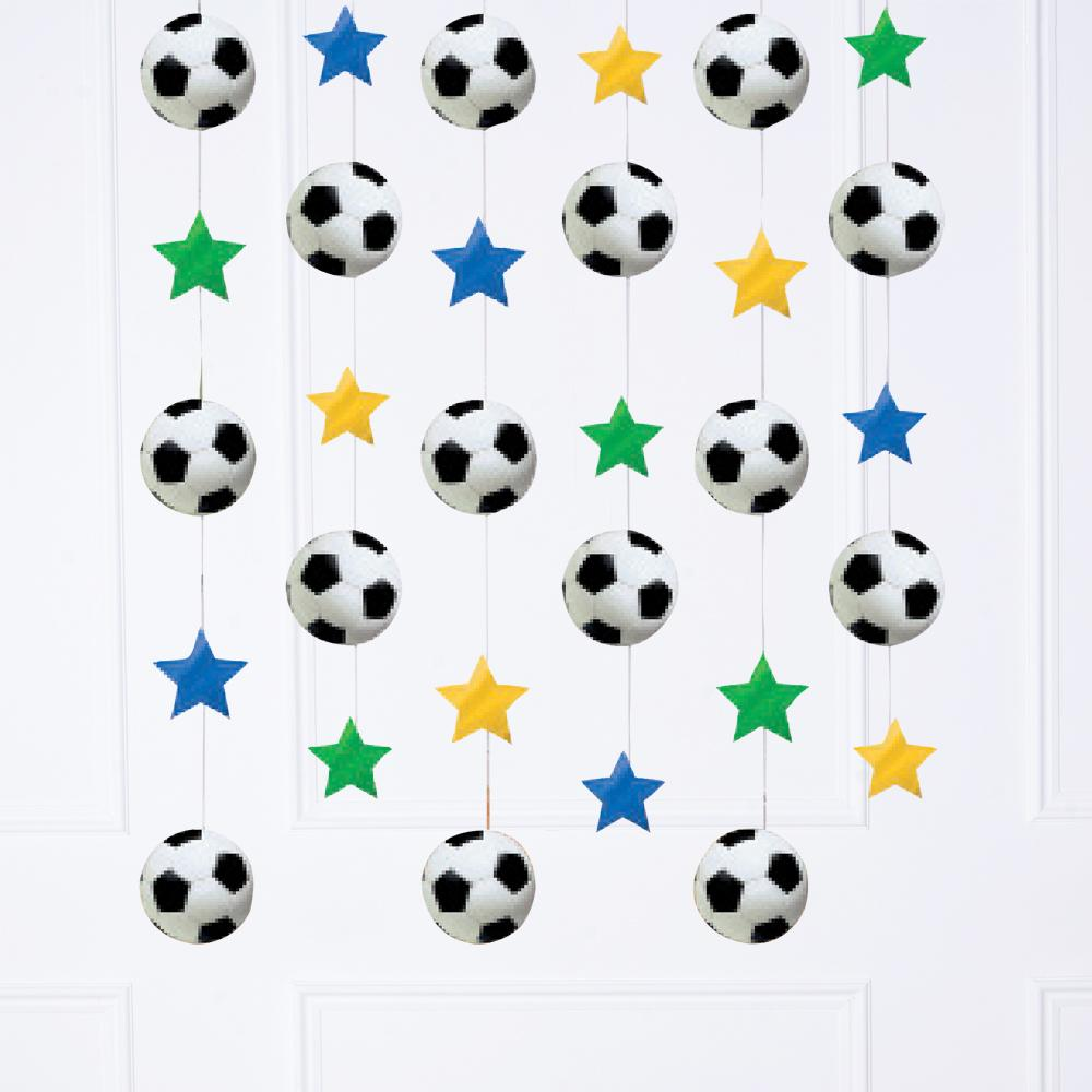 A football-themed ceiling decoration with colourful stars and football shapes