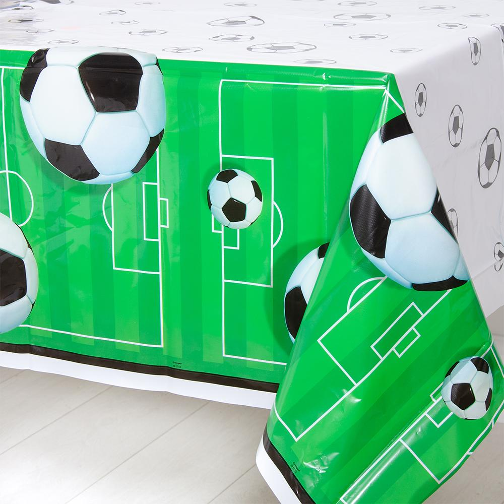 A football-themed party table cover with a ball and pitch design