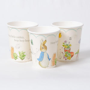 A set of 3 party cups featuring illustrations of Peter Rabbit and friends