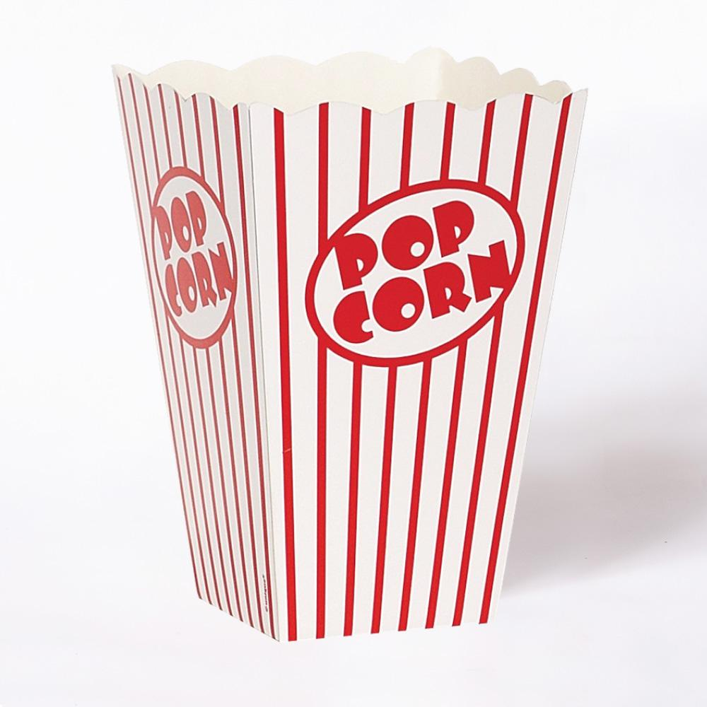A card popcorn box with a stripy red and white design